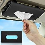 AnsTOP Car Tissue Holder, Visor Tissue Holder, Tissue Holder for Car, Mask Holder for Car, Sun Visor Napkin Holder, Car PU Leather Tissue Case Holder for Sun Visor & Seat Back with Tissue Refill Black