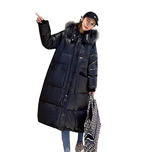 LFDYAHAW dames warm donsjack, jas lange bontkraag lange knieën warme kleding, super lang, dikke losse met capuchon warmer