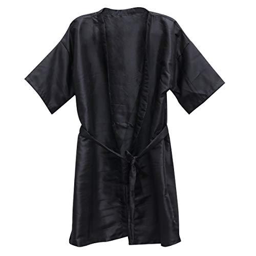 Beaupretty Salon Cliente Vestido SPA Hotel Bata de baño Mujeres Kimono Toga Peluquería (Negro) 3Pcs
