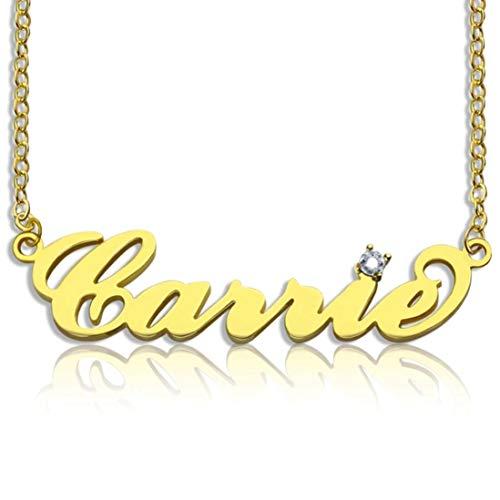 Stɑy Real Personalisierte Namenskette with Geburtsstein 925er Silber Gold Personalisiert Mit Ihrem Eigenen Wunschnamen Halskette Für Damen (45,Gold)