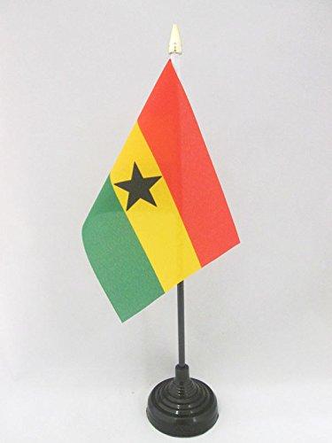 AZ FLAG TISCHFLAGGE Ghana 15x10cm goldene splitze - Republik Ghana TISCHFAHNE 10 x 15 cm - flaggen