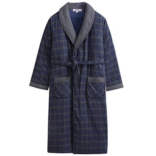 GNLIAN HUAHUA Homewear Camisón Pijamas Albornoz Batas más Gruesa de Terciopelo Polar de Coral Inicio de Hombres Y Otoño Invierno, XXXL Vendaje (Size : Click to Select XXXL)
