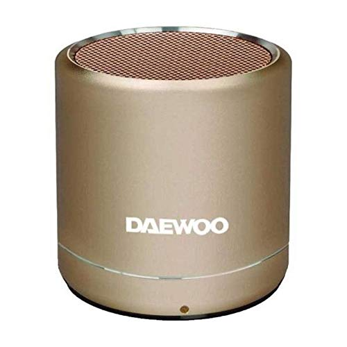 Altavoz Bluetooth Daewoo - Mini Altavoz Bluetooth Potente - Altavoz portatil 5W - Tecnología True Wireless, Acabado Aluminio, Batería 3h, Manos Libres, Radio FM, USB, Miscro SD, Dorado