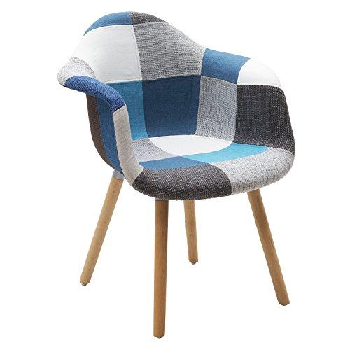 Fashion Commerce 02-FC661 Set di 2 poltroncine MOD. DAW Patchwork Grigio-Azzurro, Plastica, Legno, Multicolore, 2 sedie, 2 unità