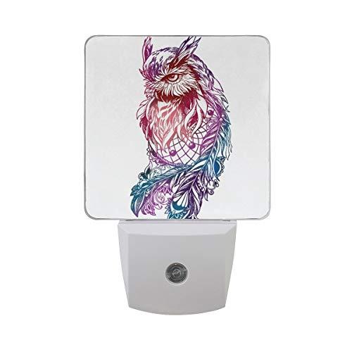 AOTISO Artistieke uil met Dreamcatcher Tribal Etnische roze blauw Animal Art Dream Catcher Auto Sensor Nachtlampje Plug in Indoor