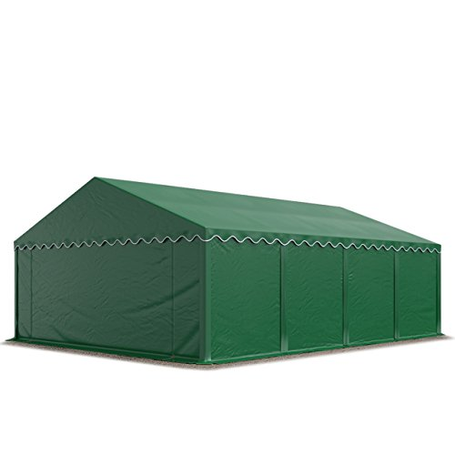 TOOLPORT Lagerzelt Unterstand 5 x 8 m in dunkelgrün Weidezelt 500g/m² PVC Plane nach DIN wasserdicht