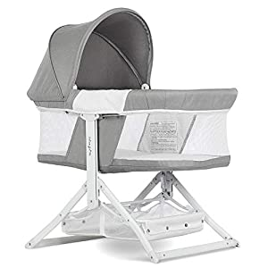 Dream On Me Insta Fold Bassinet | Cradle | Rocking Bassinet | Innovative Folding Design | Perfect for Indoor/Outdoor | Breathable Mesh Side| Oxford Carry Bag Included, Light Grey