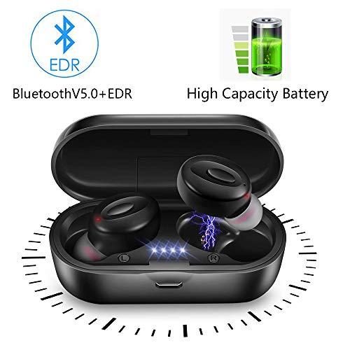 lifeicomall TWS Auriculares inalámbricos, Bluetooth 5.0 Mini auriculares intrauditivos IPX5, resistentes al agua, micrófono integrado con funda de carga para teléfonos inteligentes