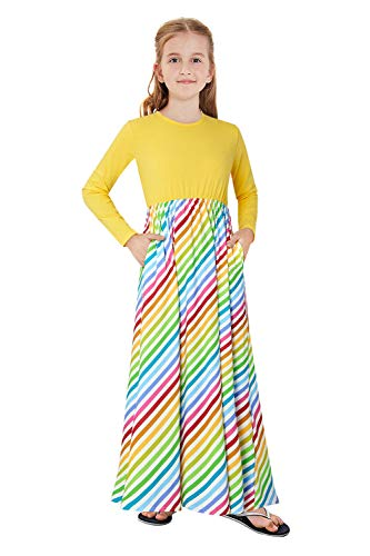 12-13T Girls Pockets Dresses Long Sleeves Winter Dress For Kids Cute Maxi Dress Fun Pattern Big Girls Colorful Stripe Long Swing Dresses Cinched-waist Classical Dresses With Pocket For Teenager