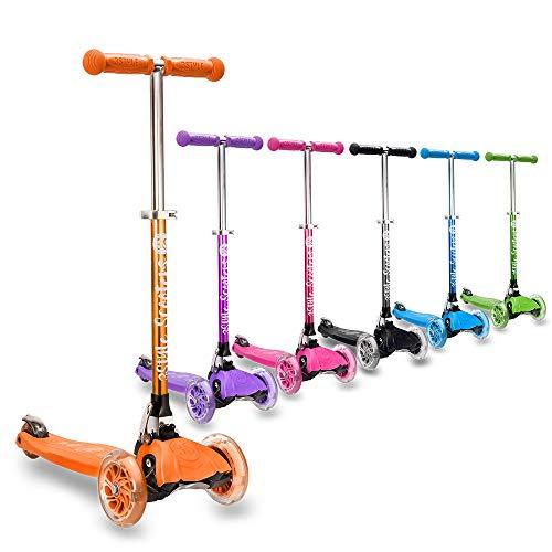 3StyleScooters® RGS-1 Patinete Scooter Tres Ruedas para Niños Pequeños Niños de 3 Años o Más con Luces LED en Las Ruedas, Diseño Plegable, Manillar Ajustable (Naranja)