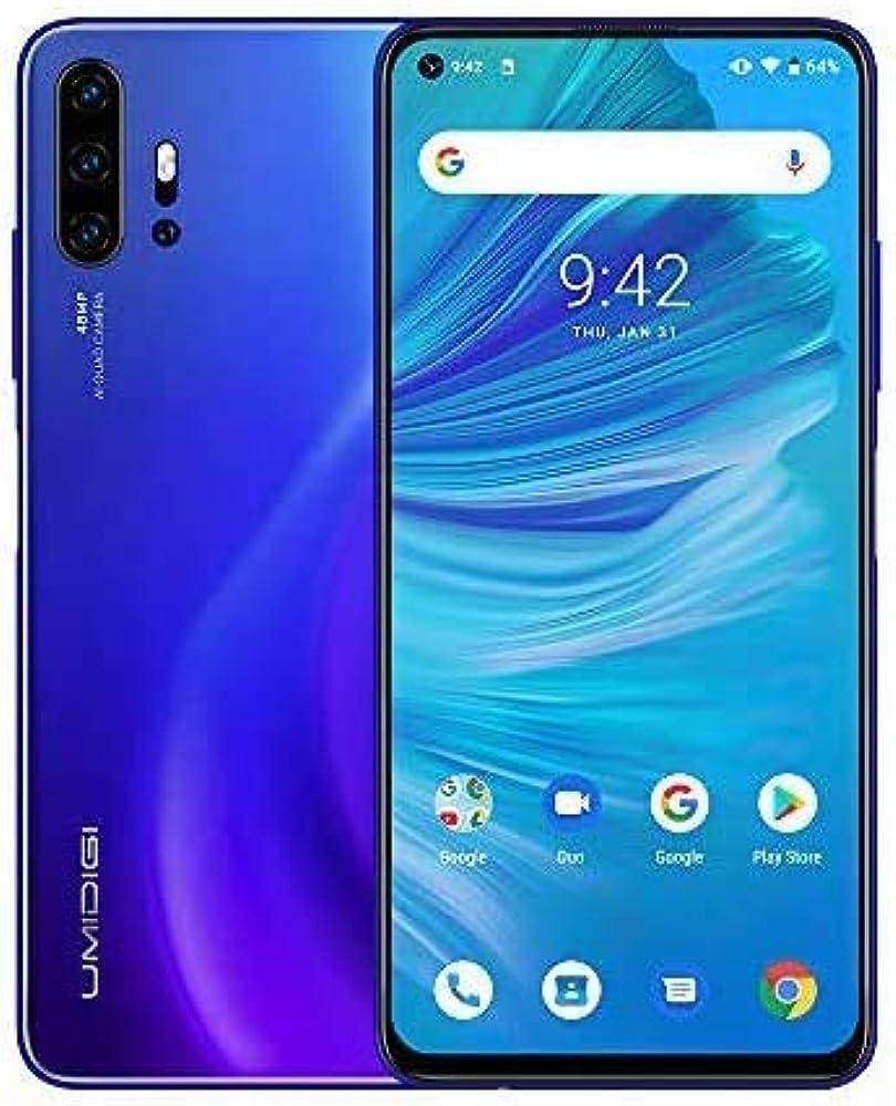 Umidigi, smartphone 6.53`` fhd+ android 10 telefono cellulare, 6gb ram 128gb rom, quad camera UMIDIGI F2