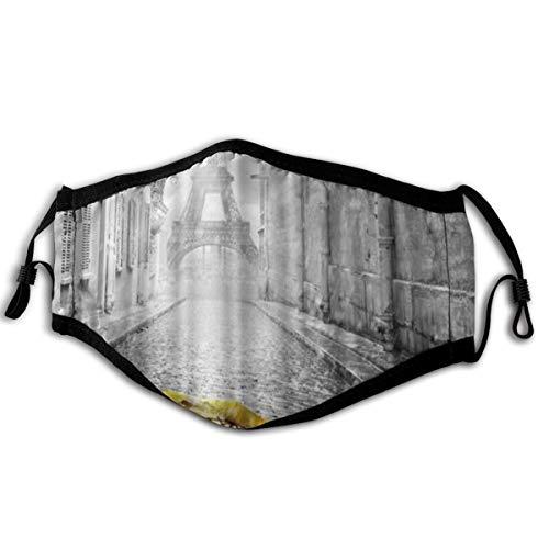 LISNIANY Gesichtsbedeckung,Gelber Regenschirm der Pariser Eiffelturm romantischen Straße,Sturmhaube Unisex Wiederverwendbar Winddicht Staubschutz Mund Bandanas Outdoor Camping Motorrad Running