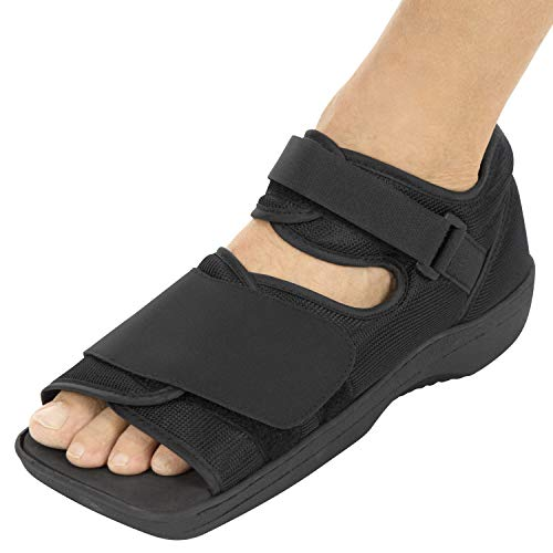 ADJUSTABLE SHOE FOR RIGHT OR LEFT FOOT: Providing a safe and secure fit, two adjustable straps allow the surgical walking boot to easily accommodate casts or bandages. Versatile square toe design can be used on the left or right foot. SUPPORTIVE PROT...