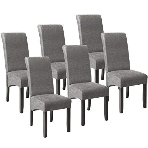 TecTake 6er Set Esszimmerstuhl Kunstleder Stuhl mit hoher Rückenlehne, ergonomische Form, Stuhlbeine aus Hartholz massiv, 106 cm hoch - Diverse Farben - (Grau marmoriert | Nr. 403629)