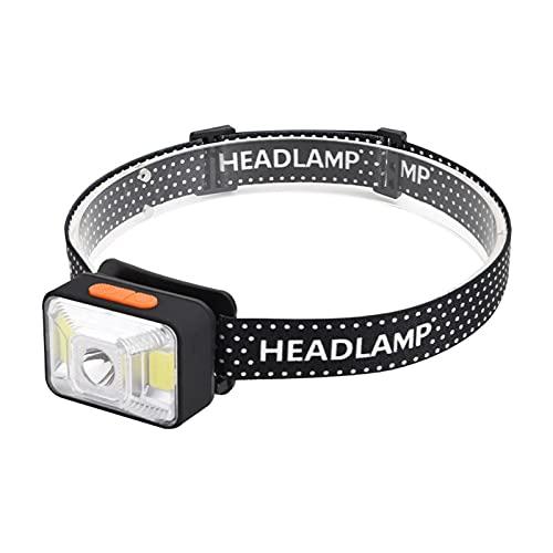 Linterna de cabeza LED, súper brillante, impermeable, brillante 30 horas de funcionamiento 1200 mAh, funciona con batería, recargable por USB, resistente al agua, camping, senderismo, pesca