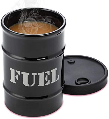 Fuel Drum Shaped Cold Coffee Mug With Silicone Lid 16 Oz Large Tall Ceramic Cup For Iced Tea product image