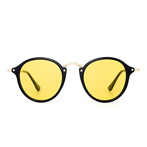JIM HALO Gafas de Sol Polarizadas Retro Redondas Lentes de Espejo Pequeño Circulo Tintado Hombre Mujer(Negro Brillante/Amarillo)