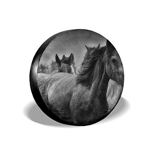 Xhayo Cubierta universal para neumáticos de repuesto para pintura de caballo, impermeable, a prueba de polvo, para remolques, RV, SUV y muchos vehículos (negro, diámetro 14-17 pulgadas)