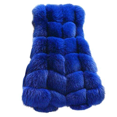QingJiu Damen ärmelloser Mantel Kunstpelz Gilet Strickjacke Weste Langer Abschnitt Jacke Winter Warme Weste Outwear (S, X-Blau)