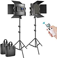 Neewer 2 Packs Advanced 2.4G 660 LED Video Light Photography Lighting Kit, Dimmable Bi-Color LED Panel with LCD Screen,...