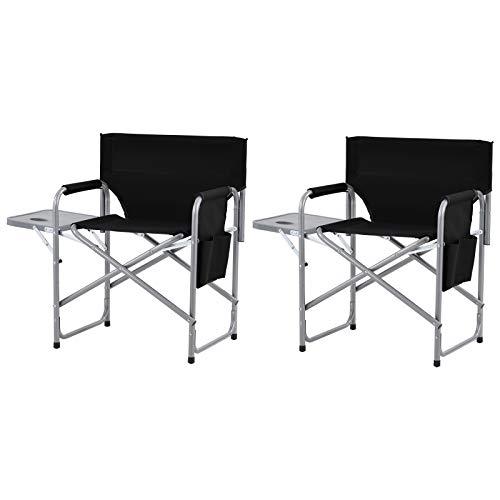 Pumpumly Juego de 2 sillas de director plegable, silla de camping con mesa lateral y bolsillos laterales, silla de playa plegable, silla de cubierta portátil para exteriores, color negro