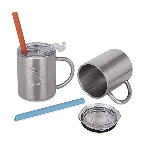 Housavvy 10 oz Kids Stainless Steel Cup with Straws and Lids, 2 Pack, Double Wall Insulated Tumblers with Easy Grip Handles, Fun Sippy Drink Cups, Outdoor and Travel Use