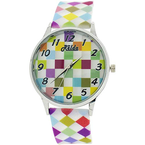 Relda Ladies Analogue Pastel Multi-Colour Harlequin Silicone Strap Watch REL97