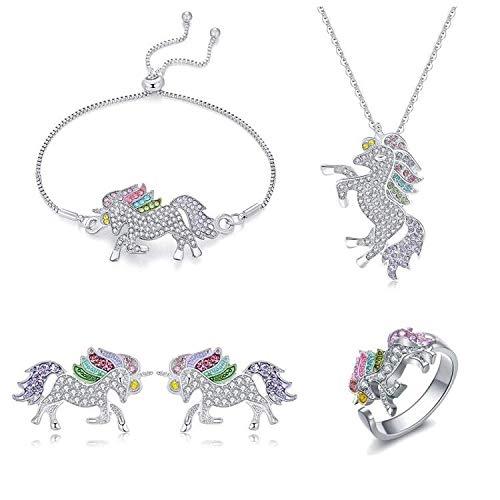 Einhorn-Halsketten-Schmuck-Set, Einhorn-Geschenke für Mädchen, Regenbogen-Einhorn-Halskette, Armband, Ohrringe, Ring, Einhorn-Schmuck für Mädchen und Frauen.