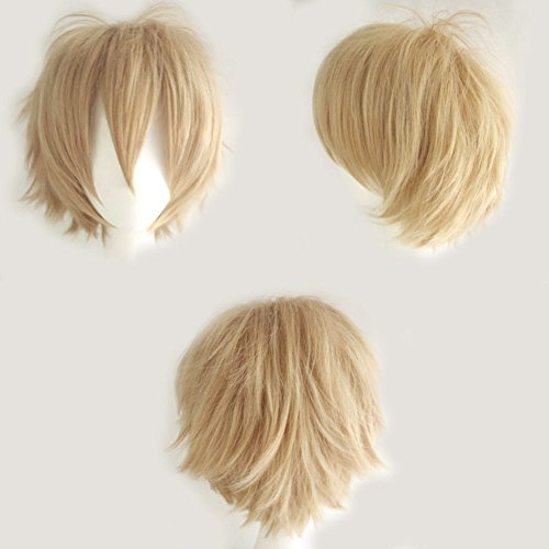 S-noilite Unisex Cosplay Short Straight Hair Wig Women Mens Cool Fluffy Style Anime Con Party Dress Synthetic Wigs Linen Blonde