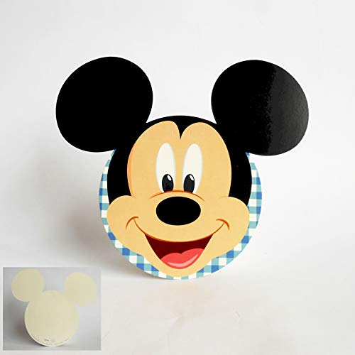 Scotton Carte Invitation ou tablò Silhouette Mickey Disney Bleu Clair Lot de 20 pièces Art 68030