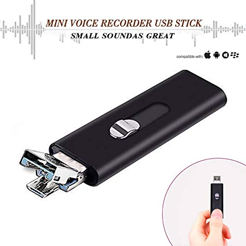 Slim Mini Voice Activated Recorder – Listening Devices USB Flash Drive,22 Hours Battery,8GB - 94 Hours Capacity,Easy to Use USB Memory Stick Sound Recorder lightREC