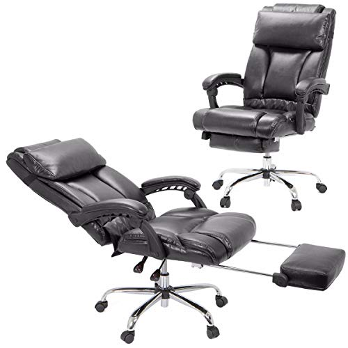 Barton High Back Office Chair with Extend Footrest Pad (Brown)
