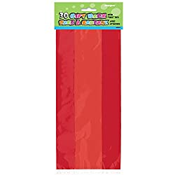 red cellophane treat favor bags for Valentine's Day