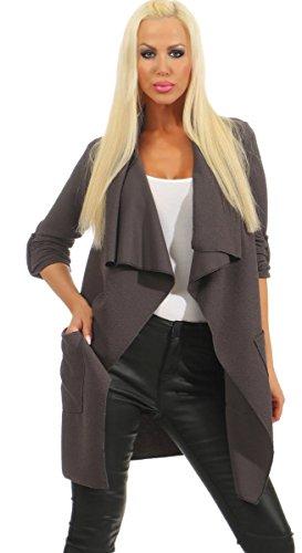 Fashion4Young 4954 Dames blazer business jas zonder kraag