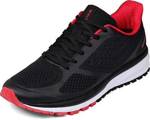 WHITIN Laufschuhe Herren Joggingschuhe Straßenlaufschuhe Turnschuhe Sportschuhe Gym Schuhe Walkingschuhe Fitnessschuhe Leichte Sommerschuhe Dämpfung Alltagsschuh Atmungsaktiv Schwarz Rot 40 EU