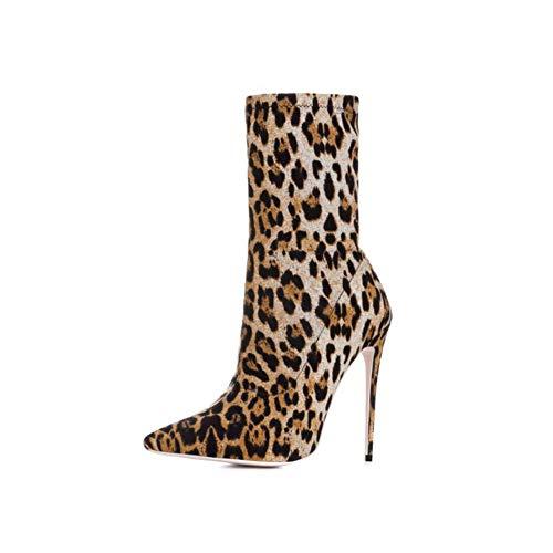 Damen Spitz Schlanker Absatz Stretch-Stiefel Mode Wildleder Mikrofaser Einlegesohle Gummi Sohle, einzig, alleinig Mittlere Stiefel (Absatzhöhe 12CM),41