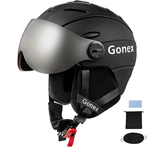 Gonex Ski Helmet with Goggles - ASTM Certified Safety - Winter Windproof Skiing Snowboard Snow Helmet for Men, Women, Youth - Accessories Included (Matte Black, M)