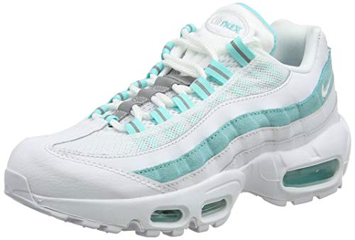 Nike WMNS Air Max 95, Chaussures de Gymnastique Femme, Blanc (White/White/Lt Aqua 115), 39 EU