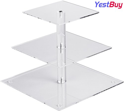 "YestBuy 3 Tier Cupcake Stand, Cake Stand, Acrylic Cupcake Tower Stand, Premium Cupcake Holder For 28 Cupcakes, Display for Pastry Wedding Birthday Party (4"" between 2 layers)"