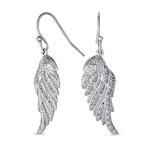 Himmlische spirituelle Symbol Kubische Zirkonia Pflaster CZ Schutzengel Flügel Feder Leverback Ohrringe für Frauen für Teen 925 Sterling Silber Französisch Draht Einfädler