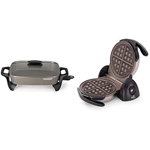 """Presto Electric Skillet, 16"""", Grey Ceramic & 03510 Ceramic FlipSide Belgian Waffle Maker,Black"""