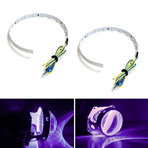 iJDMTOY Bright Purple 15-SMD High Power LED Demon Eye Halo Ring Kit Compatible With Car Motorcycle Headlight Projectors or Aftermarket 2.5 2.8 3.0 Inch Retrofit Projector Lens
