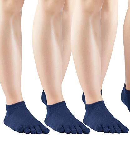 Knitido Everyday Essentials Lot de 3 paires de chaussettes à orteils en coton Unisexe - Bleu - 39-42