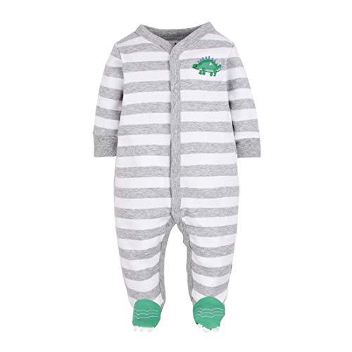 Amissz Unisex Baby Schlafstrampler Bärchen, Baumwolle Pyjamas Cartoon Overalls Strampler 0-12 Monate (Hellgrau, 9-12 Monate)