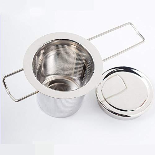 JUNSHUO Tea Strainer voor Losse Thee, 304 RVS Theefilter met Deksel/Druppelbak, Thee-Infuser met Opvouwbaar Handvat Ontwerp Geschikt voor Theepotten/Theekopjes, Mokken