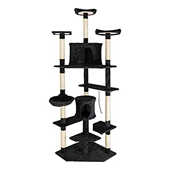 Lykos 80  Solid Cute Sisal Rope Plush Cat Climb Tree Cat Tower Black