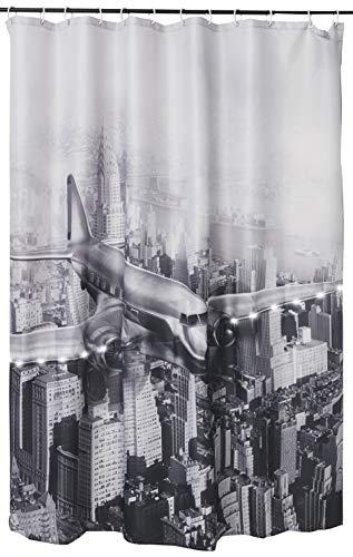 WENKO LED Duschvorhang Old Plane - waschbar, mit 12 Duschvorhangringen, Polyester, 180 x 200 cm, Mehrfarbig