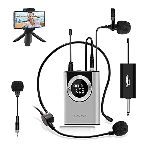 Wireless Lavalier Microphone,XIAOKOA Wireless Lapel,Headset and Handheld Mic for iPhone,MacBook,PC,DSLR Camera,Rechargeable Transmitter and Receiver,Ideal for Vlogging,Recording,Teaching,Interview