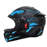 Steelbird SBH-17 Terminator Full Face Graphic Helmet (Large 600 MM, Matt Black Fluo Blue with Clear...