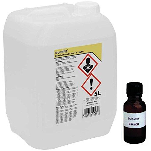 5 Liter Eurolite B (Basic) Nebelfluid + 30 ml Duftstoff Kirsche, Smoke-Fluid, Nebel-Fluid-Flüssigkeit für Nebelmaschine (5 L Fluid -B- + Duft Kirsche)